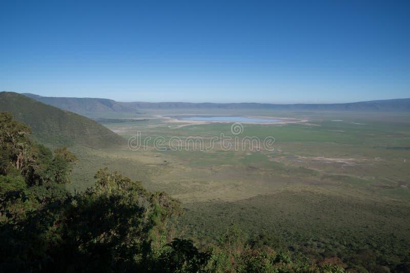Vista della caldera di Ngorongoro fotografie stock libere da diritti