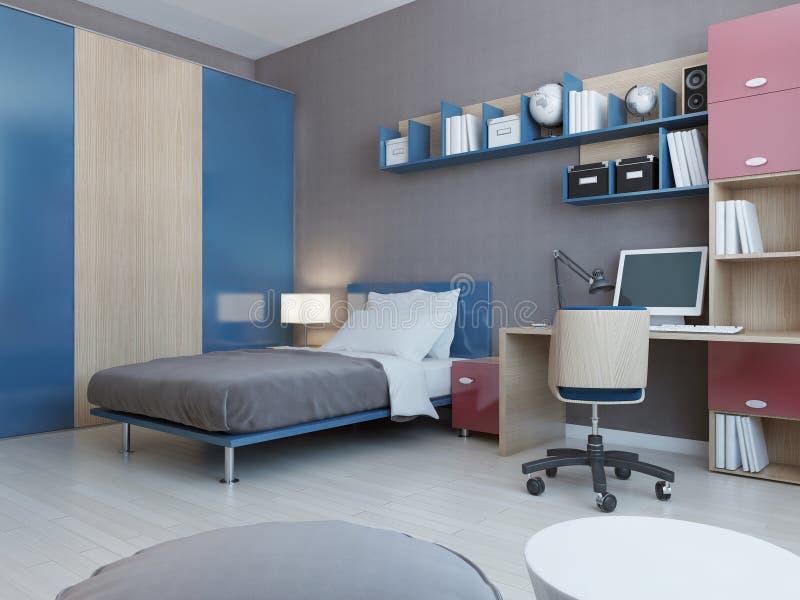 Vista della camera da letto degli adolescenti royalty illustrazione gratis