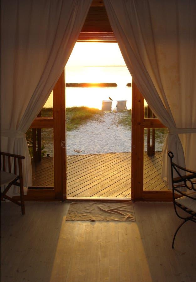 Vista della camera di albergo dei Maldives immagine stock libera da diritti