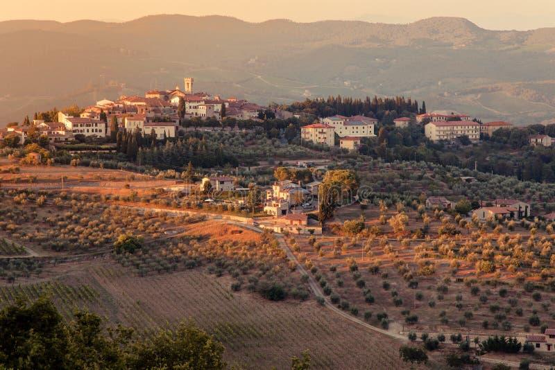 Vista della campagna toscana in Chianti, Italia fotografia stock libera da diritti