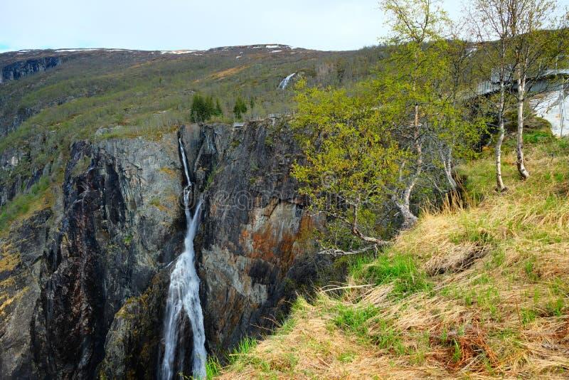 Vista della cascata di Voringsfossen, Mabodalen Valley Norway Rotta turistica nazionale Hardangervidda fotografia stock