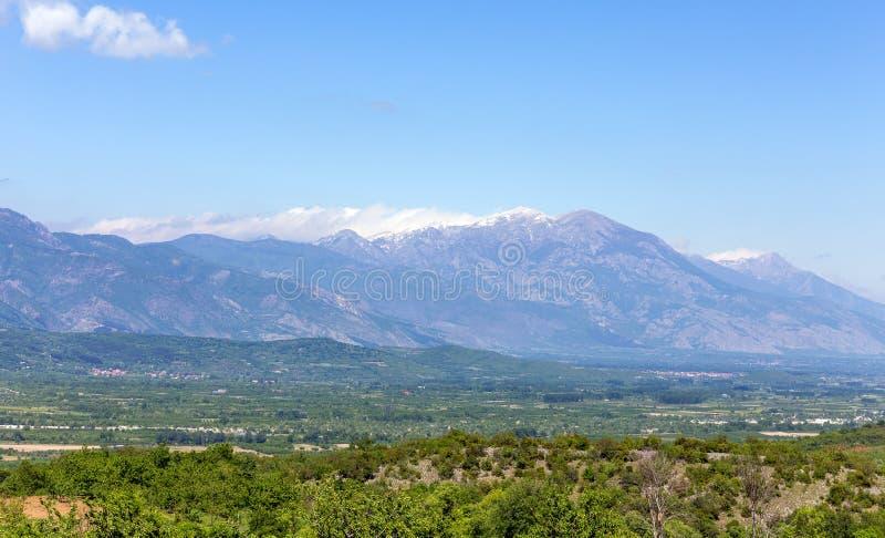 Vista della catena montuosa di Kaimaktsalan, Macedonia, Grecia fotografia stock