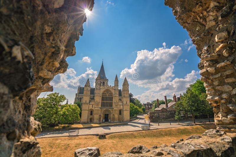 Vista della cattedrale di Rochester fotografia stock