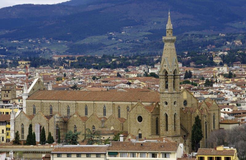 Vista della chiesa del Santa Croce, Firenze. fotografia stock libera da diritti