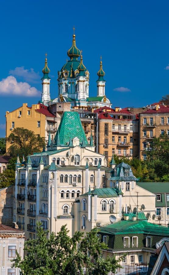 Vista della chiesa di St Andrew - Kyiv, Ucraina fotografie stock