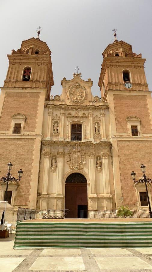 Vista della chiesa di Velez Blanco-ALMERIA-SPAGNA fotografia stock libera da diritti