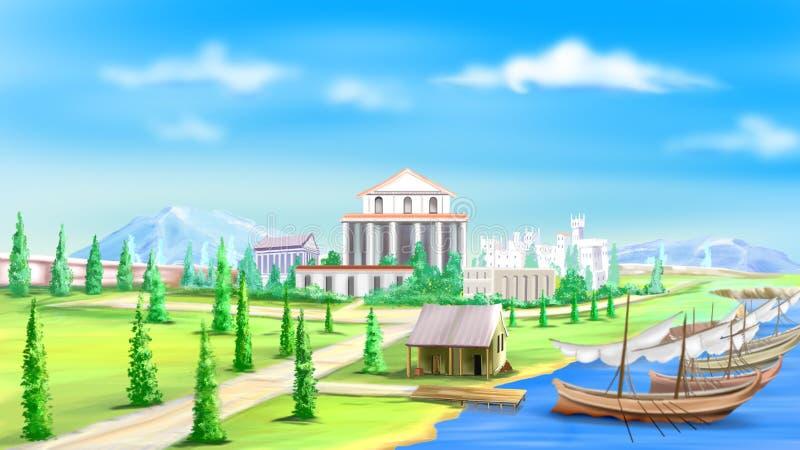 Vista della città antica illustrazione vettoriale
