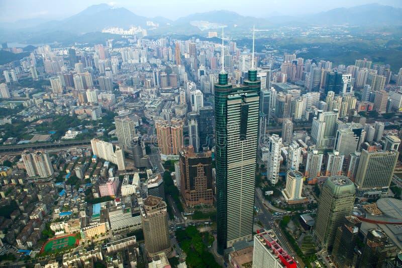 Vista della città Cina di Shenzhen del distretto di Luohu fotografie stock libere da diritti
