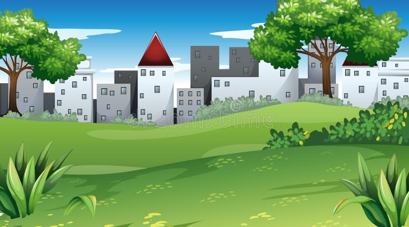 Vista della città dal parco illustrazione di stock