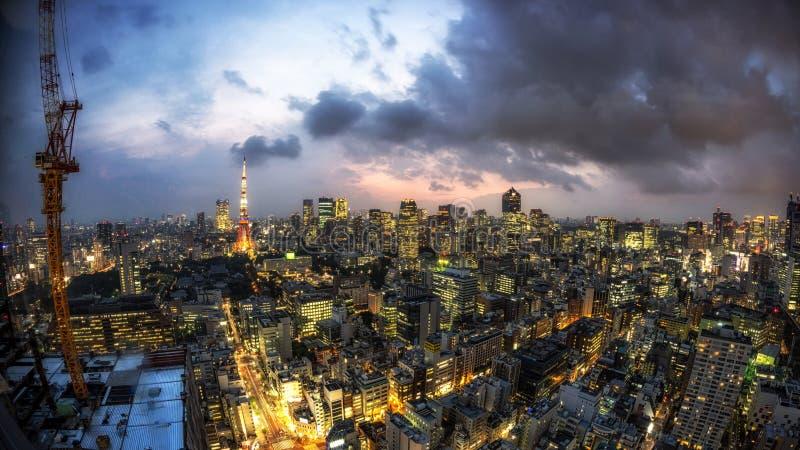 Vista della città della torre di Tokyo fotografia stock libera da diritti