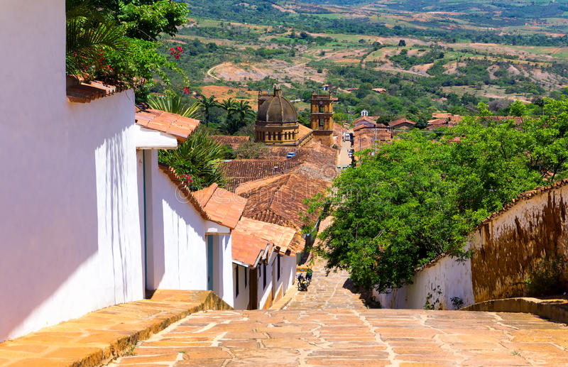 Vista della città di Barichara fotografie stock