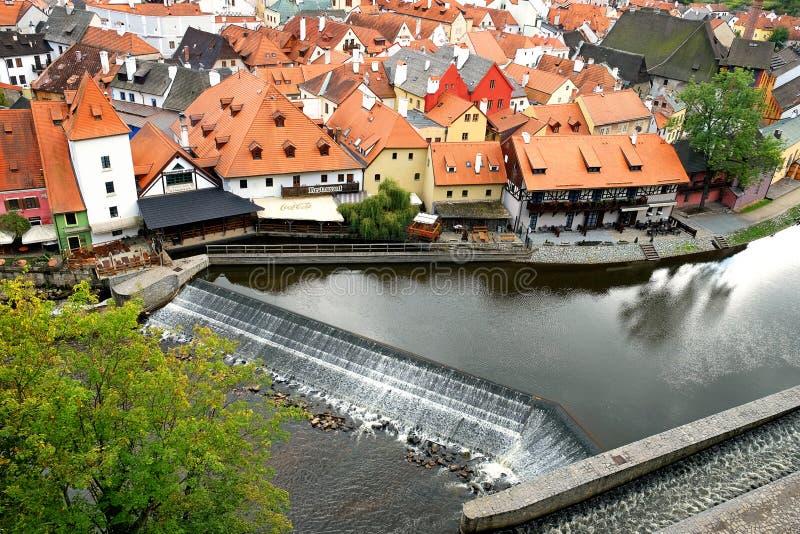 Vista della città di Cesky Krumlov fotografie stock