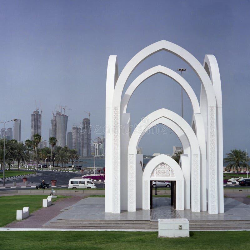 Vista della città di Doha immagini stock libere da diritti