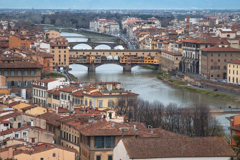 Vista della città di Firenze da sopra fotografia stock libera da diritti