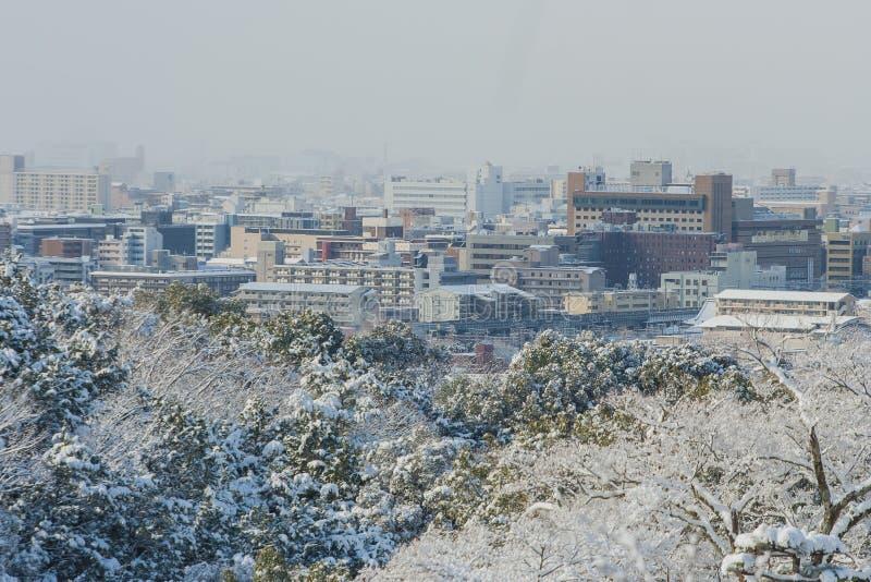 Vista della città di Kyoto dal tempio di Kiyomizu-dera immagini stock libere da diritti