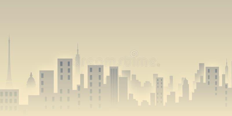 Vista della città di mattina illustrazione vettoriale