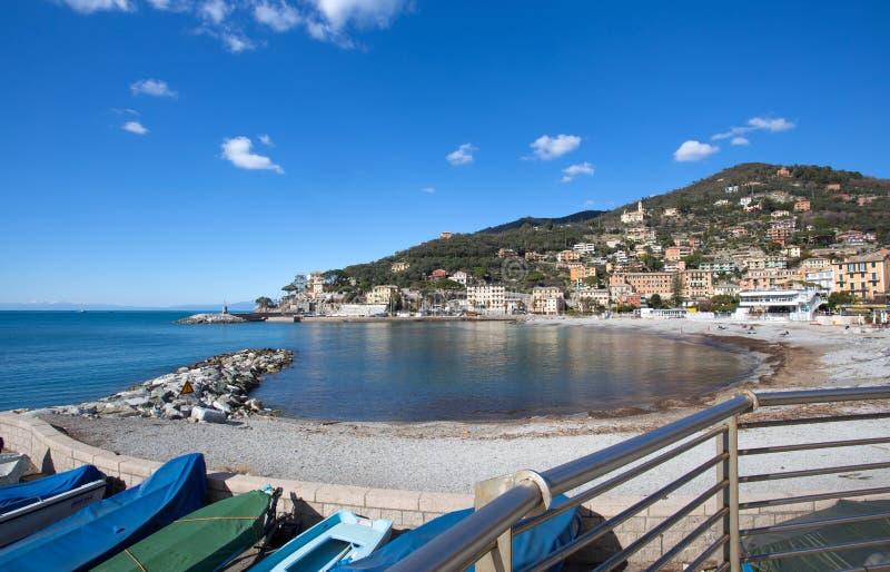 Vista della città di Recco, Genoa Genova Province, Liguria, costa Mediterranea, Italia fotografia stock libera da diritti