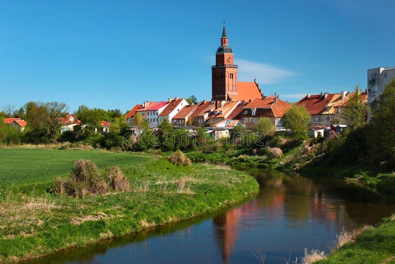 Vista della città di Sepopol nella contea di Bartoszyce, Warmian-Masurian Voivodeship, Polonia fotografie stock