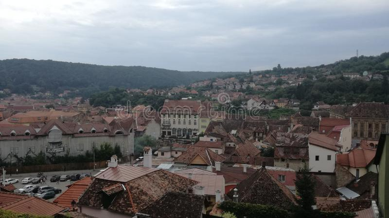 Vista della città di Sighisoara immagine stock libera da diritti