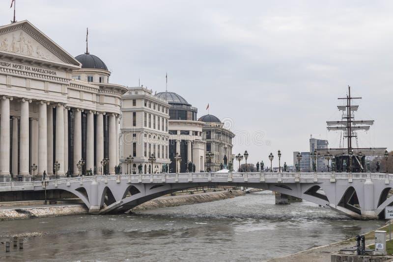 Vista della città di Skopje immagini stock libere da diritti