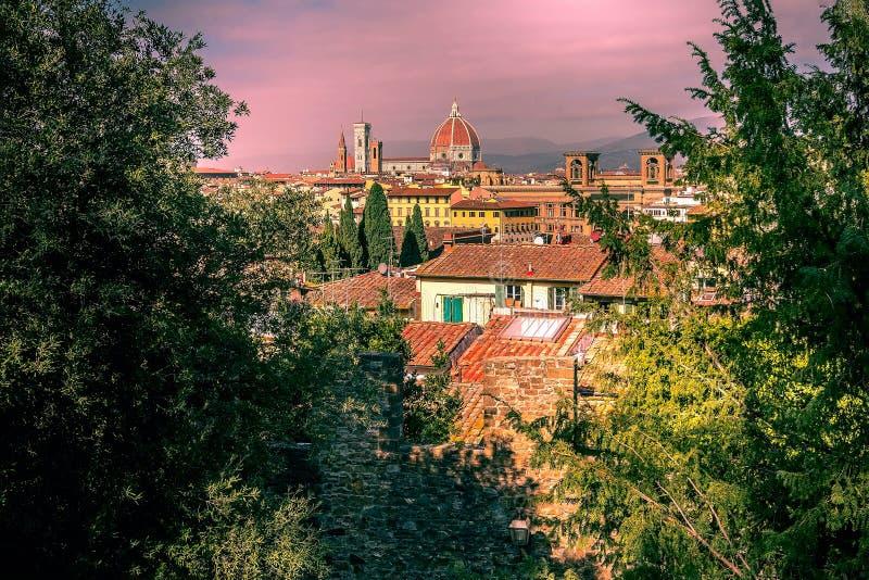 Vista della città di tramonto, Firenze, Italia fotografia stock libera da diritti