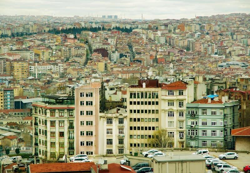 Vista della città e delle case interessanti immagine stock libera da diritti
