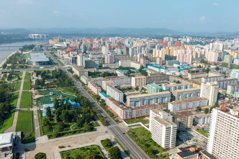 Vista della città Pyongyang fotografia stock
