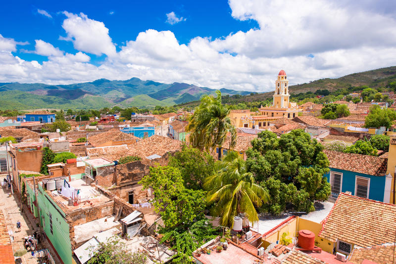 Vista della città, Trinidad, Sancti Spiritus, Cuba Copi lo spazio per testo Vista superiore immagini stock libere da diritti