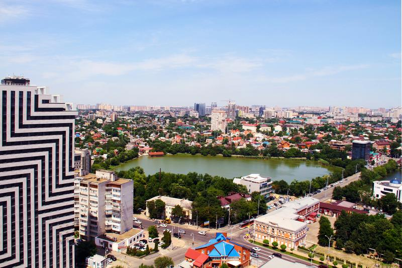 Vista della citt? di Krasnodar immagine stock