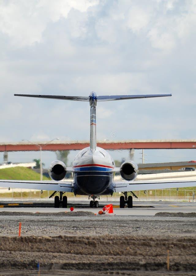 Vista della coda dell'aeroplano del jet fotografia stock