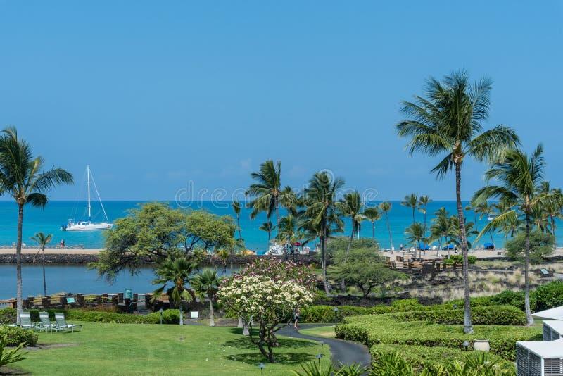 Vista della costa di Sunny Kohala sulla grande isola delle Hawai immagini stock libere da diritti