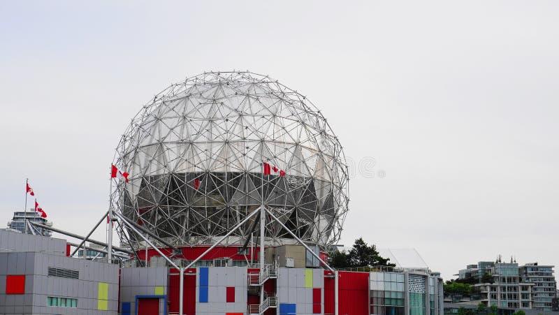 Vista della costruzione del mondo di scienza a fine di Vancouver, Canada su fotografie stock libere da diritti