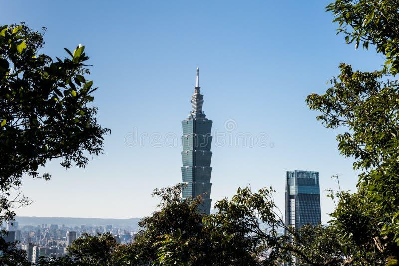 Vista della costruzione del World Trade Center di Taipei 101 fotografia stock libera da diritti
