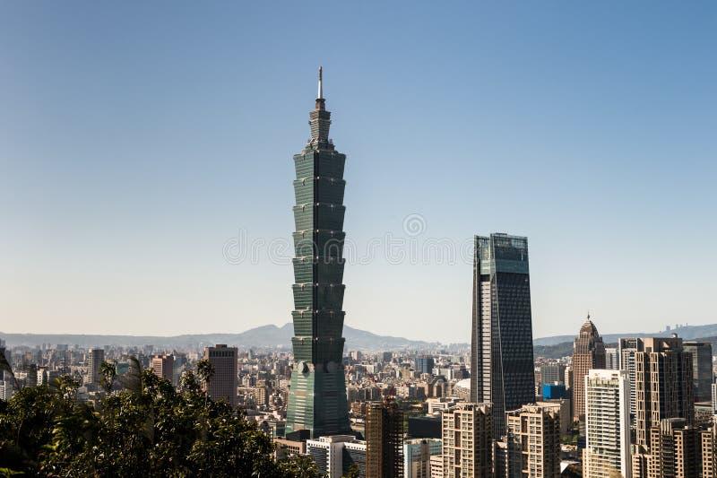 Vista della costruzione del World Trade Center di Taipei 101 fotografia stock