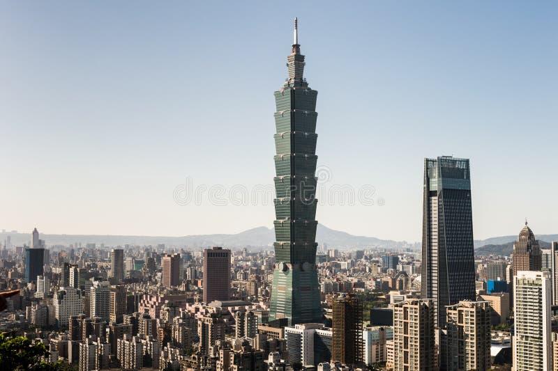 Vista della costruzione del World Trade Center di Taipei 101 fotografie stock