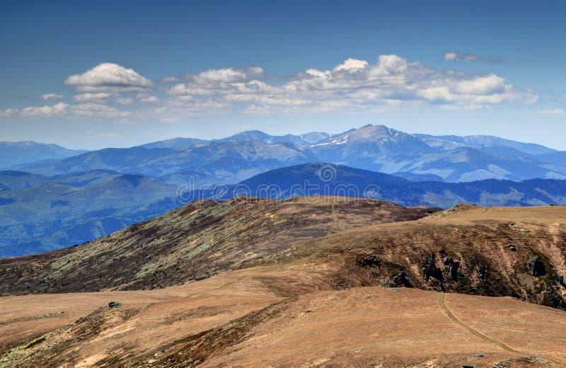 Vista della cresta principale sterile soleggiata e picco di Tatra basso Slovacchia fotografia stock libera da diritti