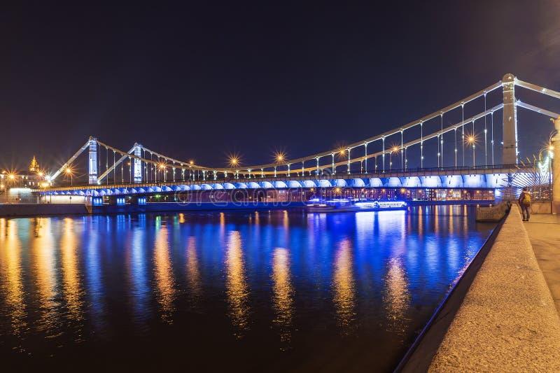 Vista della Crimea di notte del ponte, Mosca fotografia stock libera da diritti