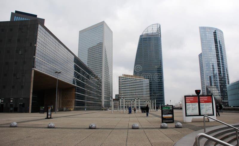 Vista della difesa, distretto aziendale di panorama a Parigi, Francia fotografia stock libera da diritti