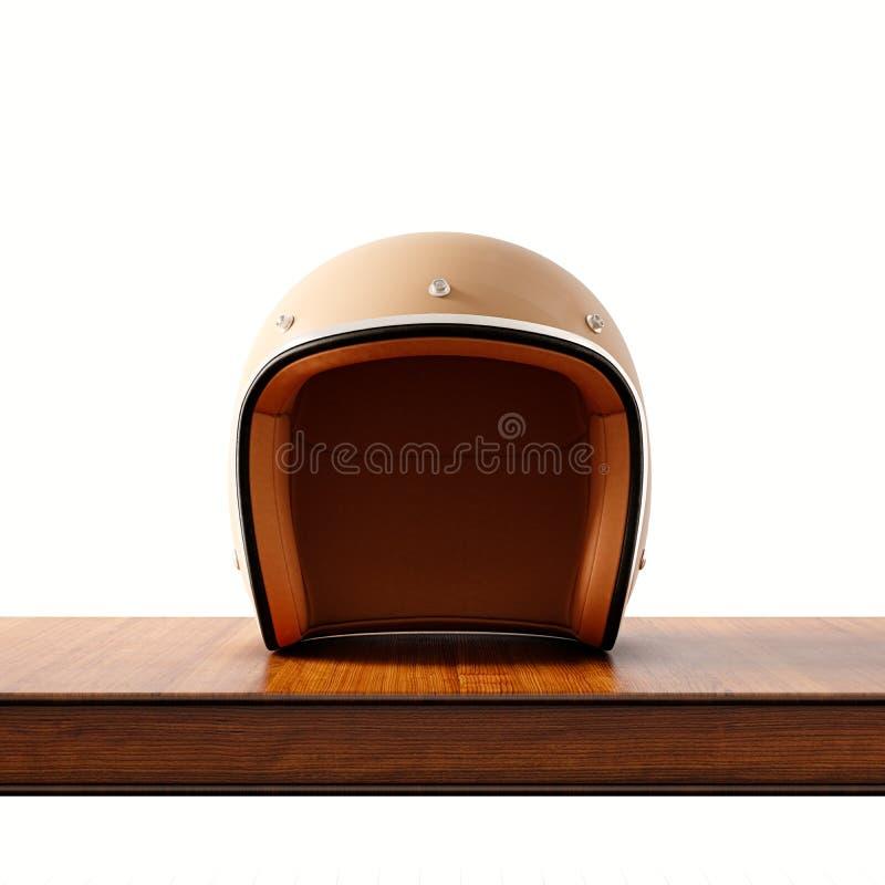 Vista della facciata frontale del casco d'annata del motociclo di stile di colore marrone sullo scrittorio di legno naturale Bian royalty illustrazione gratis