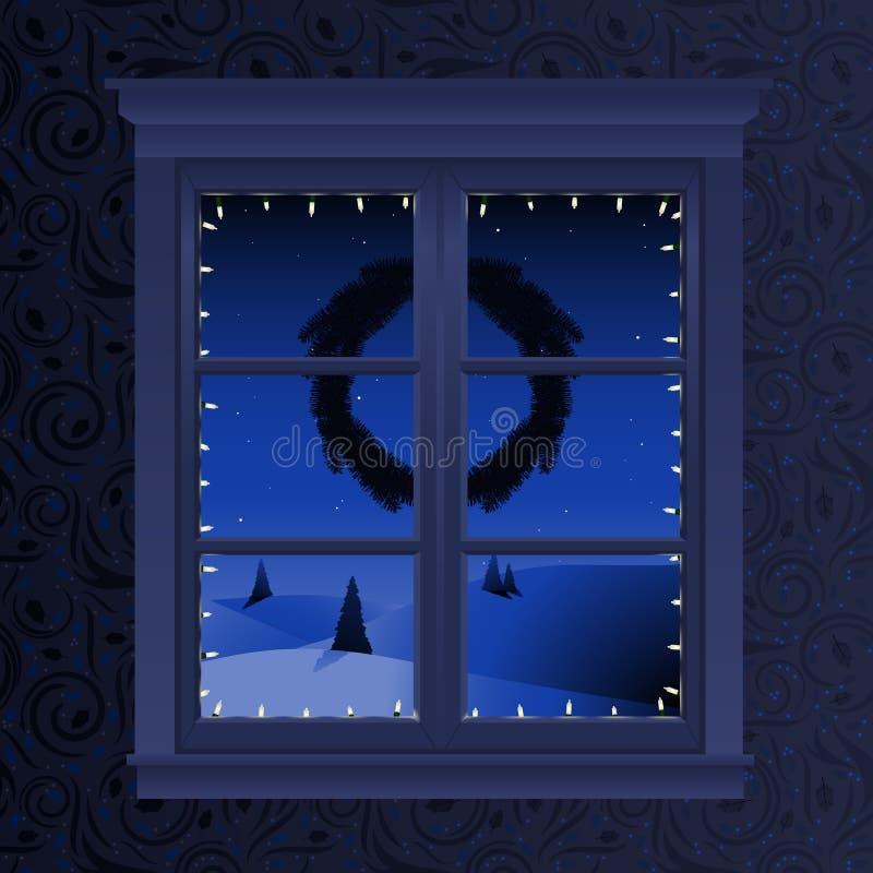 Vista della finestra di natale illustrazione vettoriale