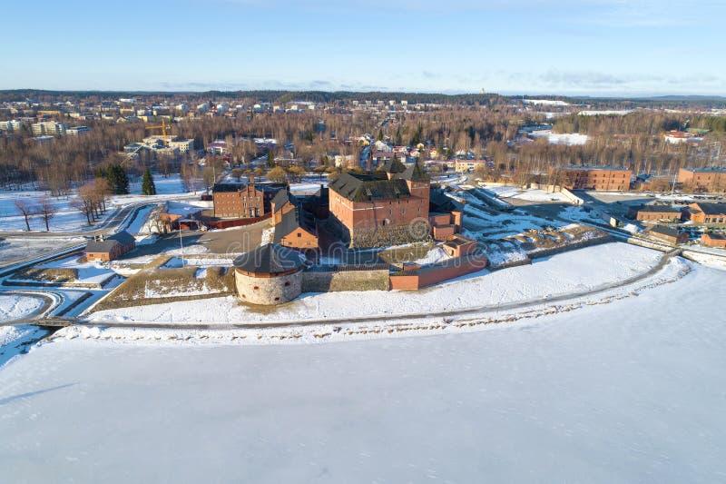 Vista della fortezza-prigione antica della citt? del rilevamento aereo di Hameenlinna finland immagine stock