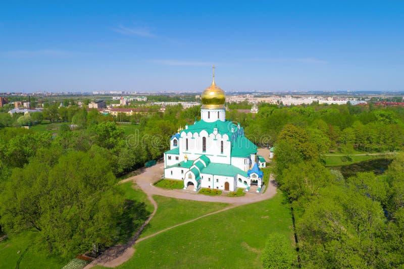 Vista della fotografia aerea della cattedrale di Fedorovsky Tsarskoye Selo, St Petersburg fotografie stock