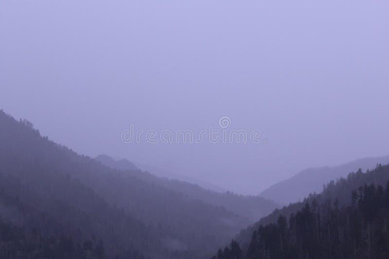 Vista della fotografia del paesaggio del parco nazionale di Great Smoky Mountains nel primo mattino fotografia stock libera da diritti