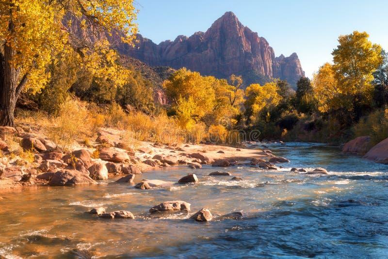 Vista della montagna della guardia notturna e del fiume vergine in Zion Natio fotografia stock