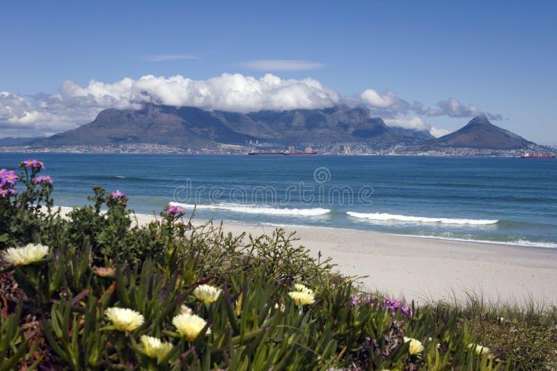 Vista della montagna della tabella e di Città del Capo, Sudafrica fotografie stock libere da diritti