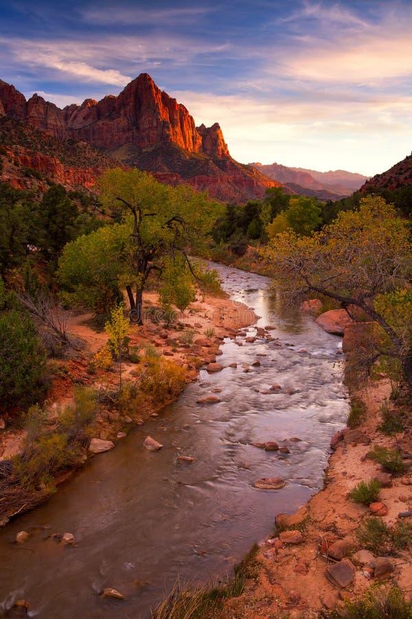 Vista della montagna della guardia notturna e del fiume vergine in Zion Natio fotografie stock