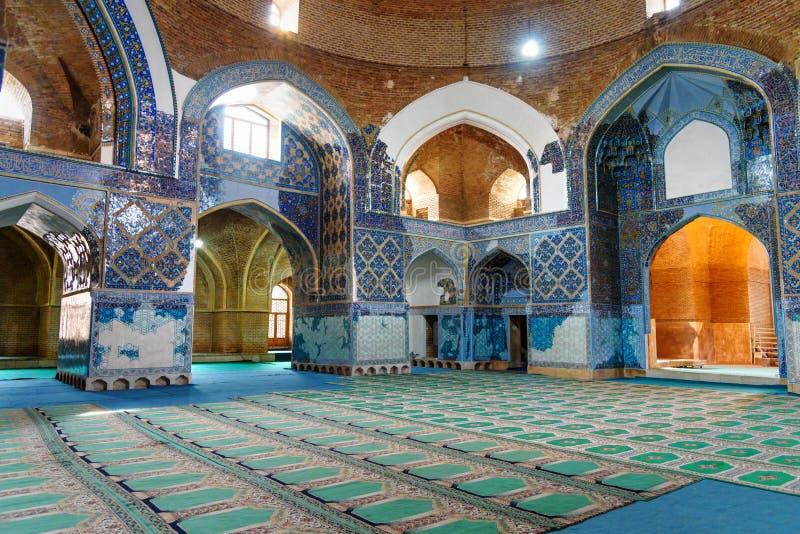 Vista della moschea blu interna a Tabriz Provincia orientale dell'Azerbaigian l'iran immagine stock libera da diritti