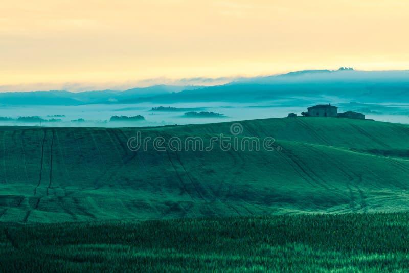 Vista della nebbia di mattina sulla fattoria in Toscana, Italia fotografia stock