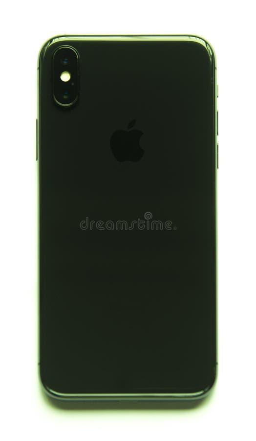 Vista della parte posteriore di Iphone X isolata fotografia stock