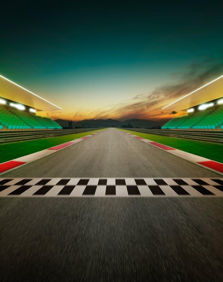 Vista della pista di corsa internazionale dell'asfalto vuoto di infinito royalty illustrazione gratis